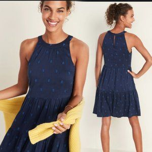 Old Navy Blue Tiered Halter Top Dress Size XL Tall